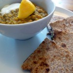 Lentil Curry Soup with Chapati Triangles