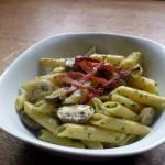 Pesto and Mushroom Pasta with Bacon Crisps