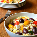Roasted Vegetable, Feta and Olive Orzo Salad
