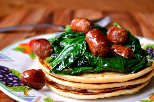 Merguez and Spinach Sourdough Pancakes