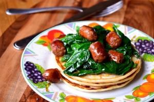 Merguez and Spinach Sourdough Pancakes