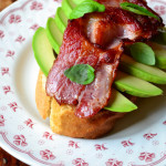Bacon Topped Avocado on Toast