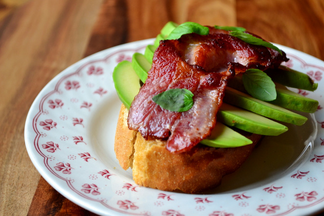 Bacon Topped Avocado on Toast - frugalfeeding | Low Budget Family ...