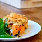 Sweet Potato and Blue Cheese Filo Pie